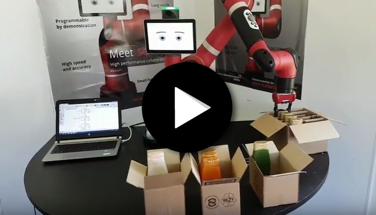 Robot collaboratif Sawyer sur une application de copacking