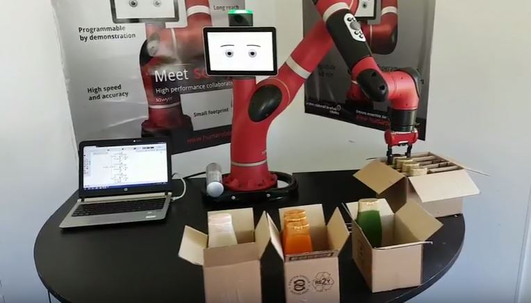 Robot Sawyer sur application de copacking